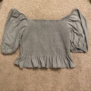 Vestique Off Shoulder 3/4 Sleeve Sage Rouche Crop